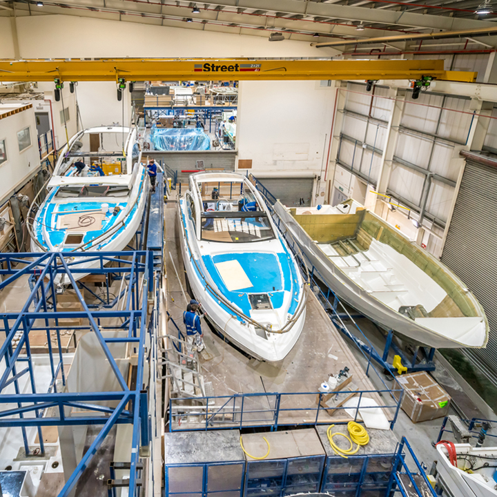 Boats in build in the Fairline factory, Oundle